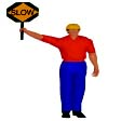 Graphic of a construction worker holding a sign