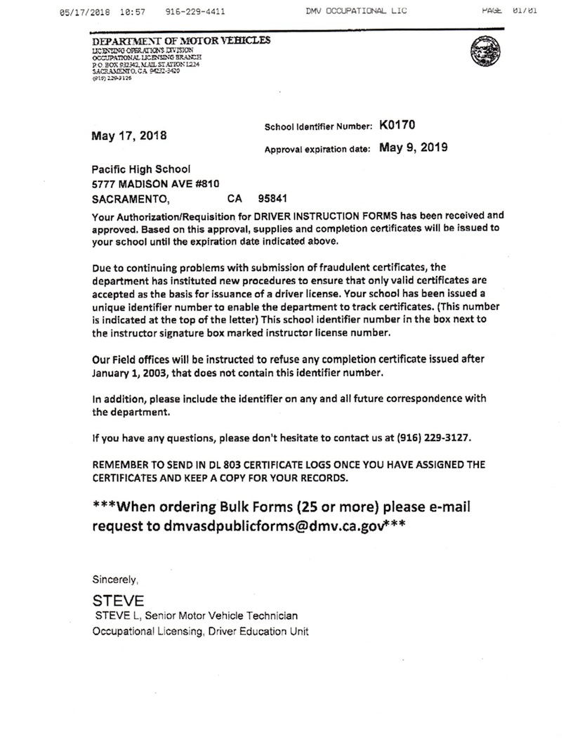 DMV Approval letter for Pacific High School